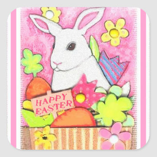 Easter Greeting  Cute Bunny Sticker