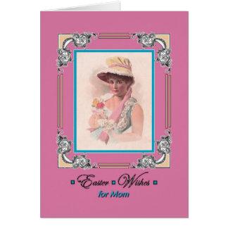 Easter greeting, for Mom, vintage bonnet, poem Card