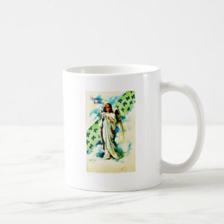 Easter greeting with an angel comes with flower in mugs