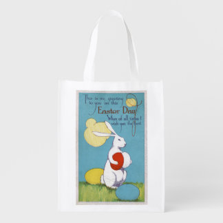 Easter GreetingEaster Bunny Holding Eggs Market Tote