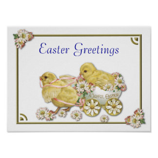Easter Greetings Baby Chicks Customizable Poster