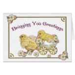 Easter Greetings Baby Chicks Greeting Card