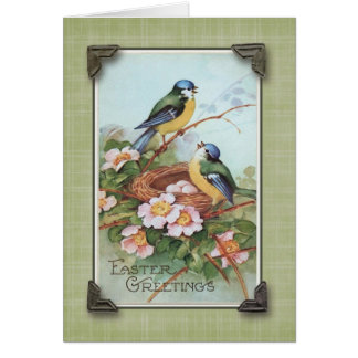 Easter Greetings Blue Bird Vintage Reproduction Greeting Card