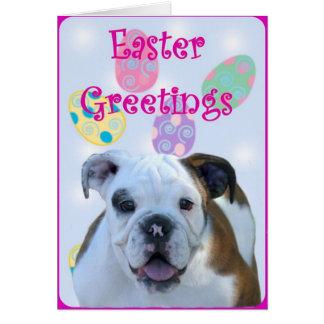 Easter greetings bulldog greeting card