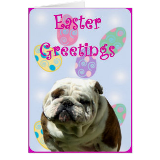 Easter Greetings Bulldog greeting card