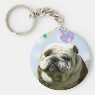 Easter Greetings Bulldog keychain