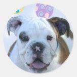 Easter greetings bulldog stickers