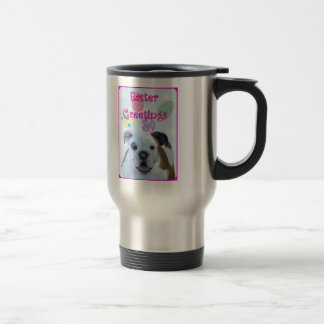 Easter greetings bulldog travel mug