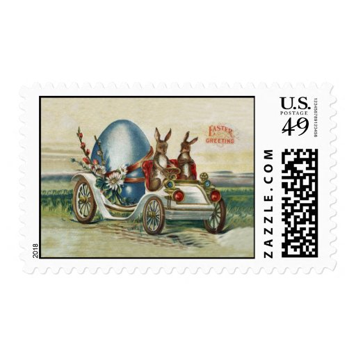 Easter Greetings Car With Rabbits Stamp