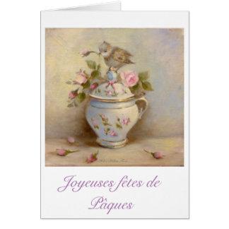 Easter greetings cards - Pájaro, capullos de rosa Tarjeta De Felicitación