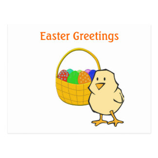 Easter Greetings Chicken with Easter Basket Postcard