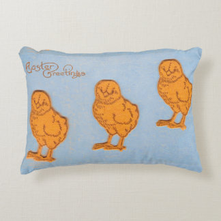 Easter Greetings Chicks Blue Accent Pillow