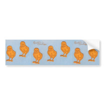 Easter Greetings Chicks Blue Bumper Sticker
