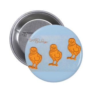Easter Greetings Chicks Blue Pinback Button