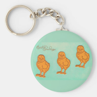 Easter Greetings Chicks Green Basic Round Button Keychain