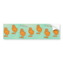 Easter Greetings Chicks Green Bumper Sticker