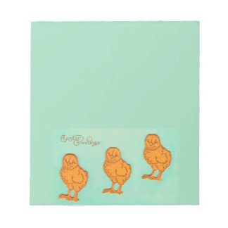 Easter Greetings Chicks Green Notepad