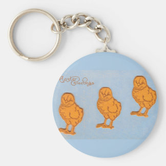 Easter Greetings Chicks in Blue Basic Round Button Keychain