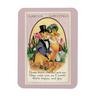 Easter Greetings cute Victorian ducks couple verse Magnet