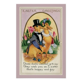 Easter Greetings cute Victorian ducks couple verse Poster