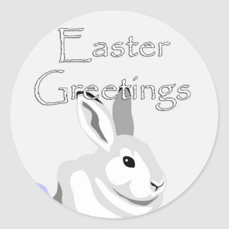 Easter Greetings Gray Bunny Sticker