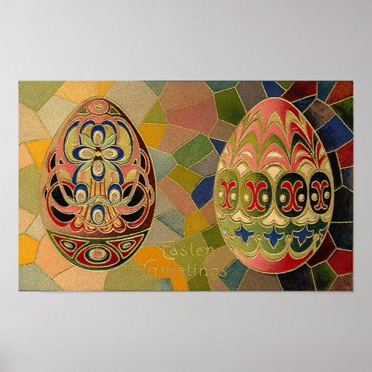 Easter Greetings Painted Eggs Vintage Poster
