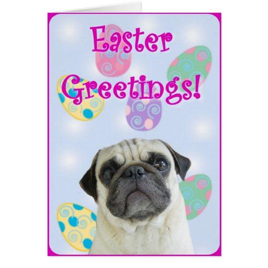 Easter Greetings pug Card