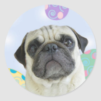 Easter Greetings pug Classic Round Sticker