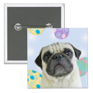 Easter Greetings pug Pinback Button