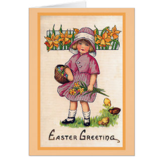 Easter Greetings Vintage Easter Illustration Card