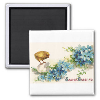 Easter Greetings with Blue Flowers and Baby Chick 2 Inch Square Magnet