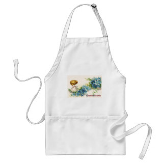 Easter Greetings with Blue Flowers and Baby Chick Adult Apron