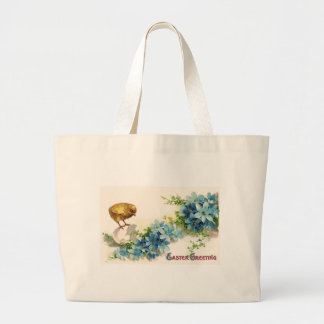 Easter Greetings with Blue Flowers and Baby Chick Jumbo Tote Bag