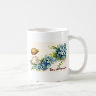 Easter Greetings with Blue Flowers and Baby Chick Coffee Mugs