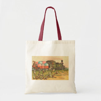 Easter Greetings With Egg Train Budget Tote Bag