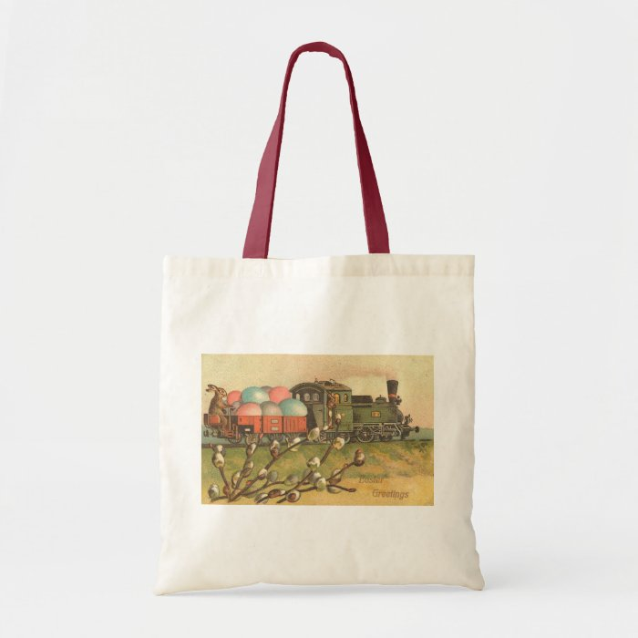 Easter Greetings With Egg Train Vintage Tote Bag