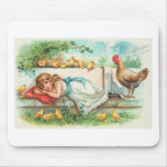 Easter Greetings With Hen, Chicks and Girl Mouse Mats