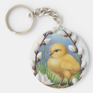 Easter Greetings Yellow Chick Basic Round Button Keychain