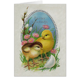 Easter Greetings Yellow Chicks Flowers Card