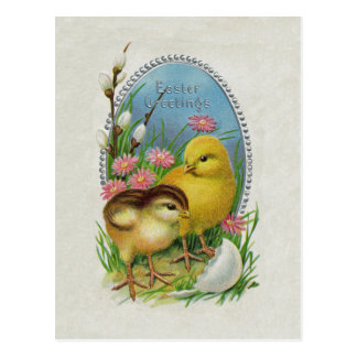 Easter Greetings Yellow Chicks Flowers Postcard