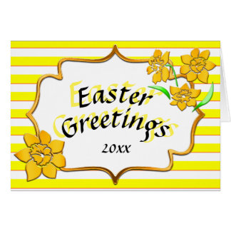 Easter Greetings Yellow Stripes Yellow Daffodils Card