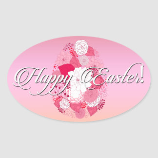 "Easter - ""Happy Easter"" Floral Egg Multi Oval Sticker"
