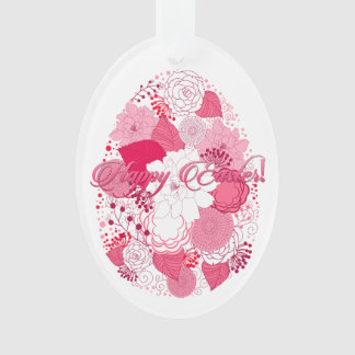 """Easter """"Happy Easter"""" Floral Egg - White Oval Ornament"""