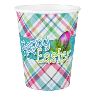 "Easter - ""Happy Easter"" Stripe Pattern Paper Cup"