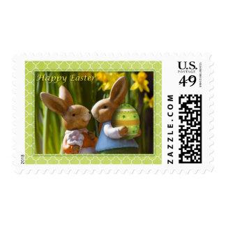 "Easter - ""Happy Easter"" Sweet Bunny Couple Postage"