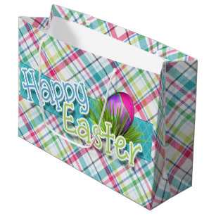 Easter gift bags zazzle easter happy easter word art on stripes large gift bag negle Choice Image
