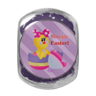 Easter Hatched Chick Glass Candy Jar Jelly Bellies