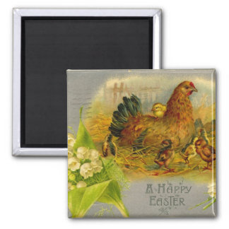 Easter Hen And Chicks 2 Inch Square Magnet