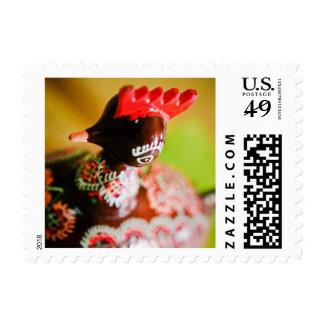 Easter Hen Round Postmark Postage Stamp