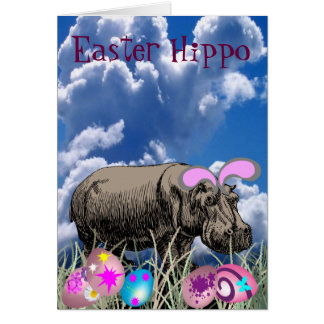 Easter Hippo Greeting Card